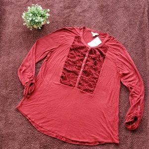 NWT Lucky Brand 3/4 Length Sleeve Top Size Medium